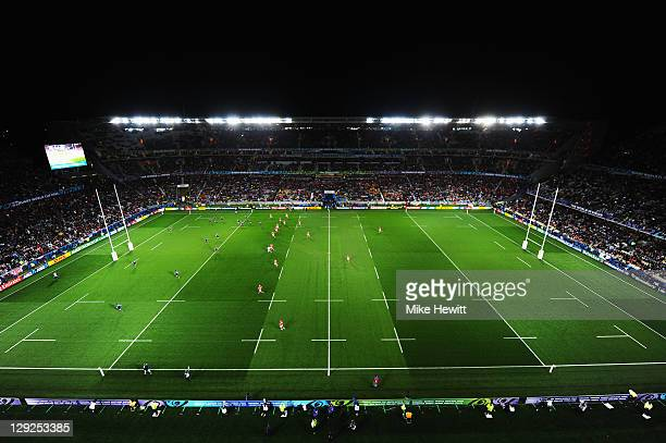 A general view of the pitch during semi final one of the 2011 IRB Rugby World Cup between Wales and France at Eden Park on October 15 2011 in...