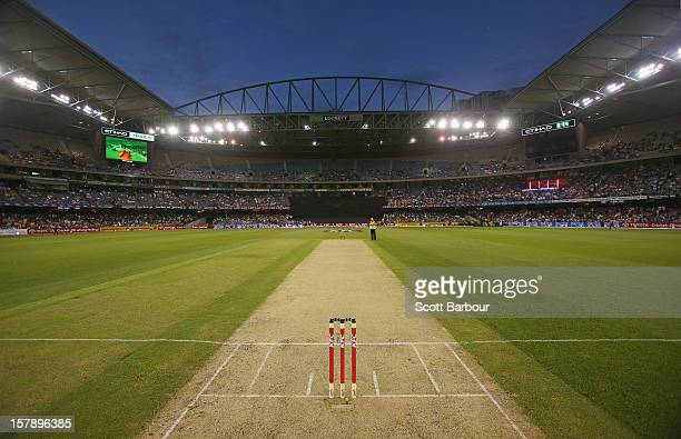 A general view of the pitch during the Big Bash League match between the Melbourne Renegades and the Melbourne Stars at Etihad Stadium on December 7...