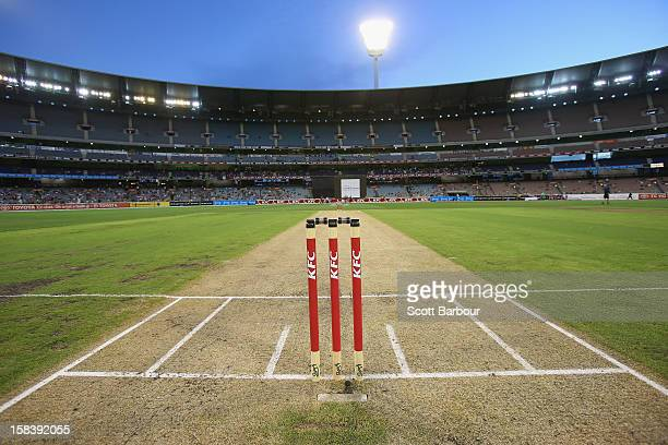 A general view of the pitch during the Big Bash League match between the Melbourne Stars and the Hobart Hurricanes at the Melbourne Cricket Ground on...
