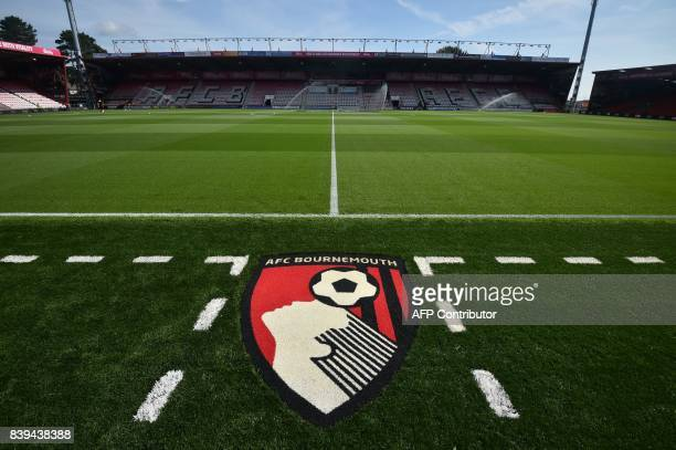 General view of the pitch in the sunshine ahead of the English Premier League football match between Bournemouth and Manchester City at the Vitality...