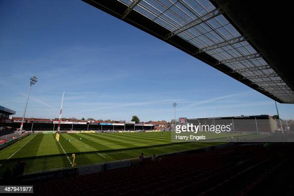 A general view of the pitch prior to the Aviva Premiership match between Gloucester and London Irish at Kingsholm Stadium on May 3 2014 in Gloucester...