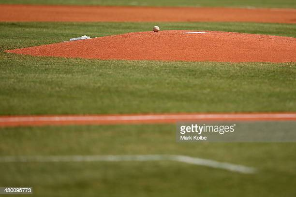 A general view of the pitching mound is seen during the MLB match between the Los Angeles Dodgers and the Arizona Diamondbacks at Sydney Cricket...