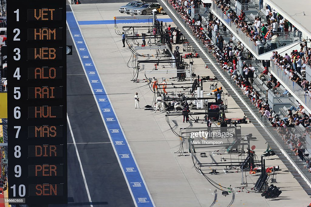 General view of the pitlane during the United States Formula One Grand Prix at the Circuit of the Americas on November 18, 2012 in Austin, Texas.