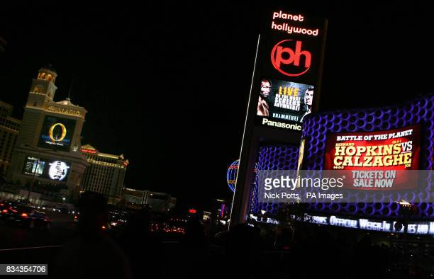A general view of the Planet Hollywood hotel and the Las Vegas Strip with advertising for the fight between Bernard Hopkins and Joe Calzaghe on...
