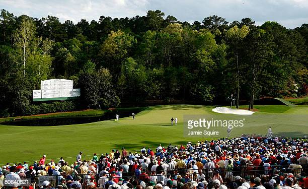 A general view of the play at the 11th hole during the second round of the 2008 Masters Tournament at Augusta National Golf Club on April 11 2008 in...