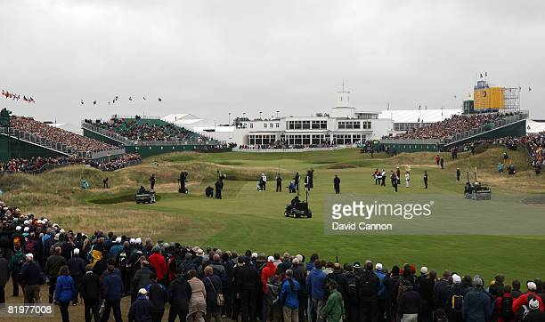 A general view of the play at the 18th hole during the second round of the 137th Open Championship on July 18 2008 at Royal Birkdale Golf Club...