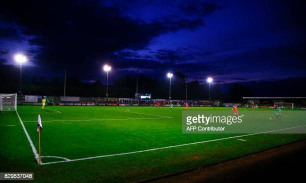 A general view of the play during the EFL Cup football match between Forest Green Rovers and MK Dons at The New Lawn stadium in Nailsworth western...
