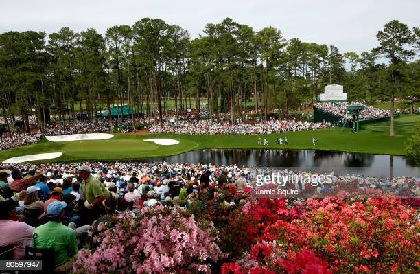A general view of the play on the 16th hole during the first round of the 2008 Masters Tournament at Augusta National Golf Club on April 10 2008 in...