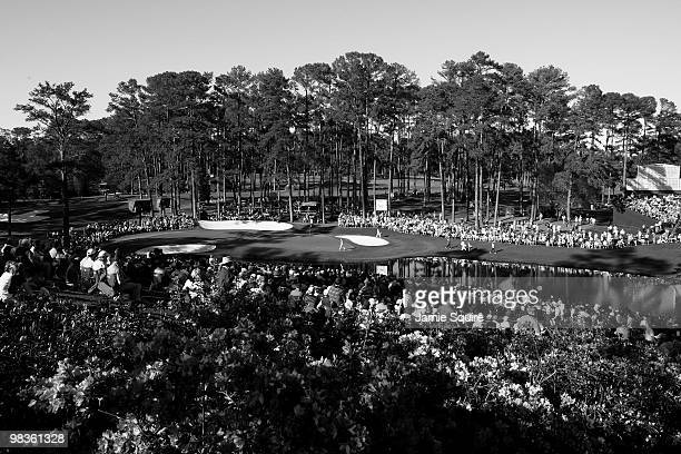 A general view of the play on the 16th hole during the second round of the 2010 Masters Tournament at Augusta National Golf Club on April 9 2010 in...
