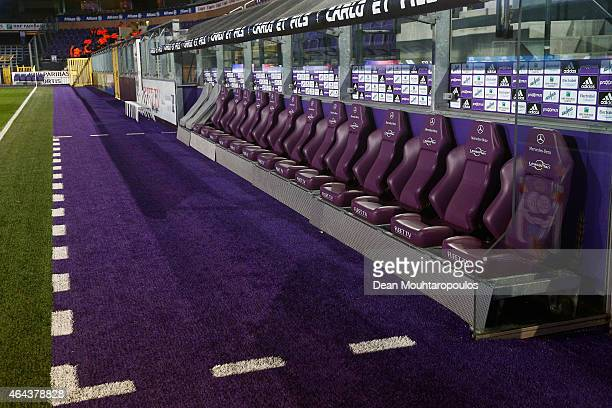 A general view of the players bench and seats prior to the UEFA Youth League Round of 16 match between RSC Anderlecht and FC Barcelona held at...