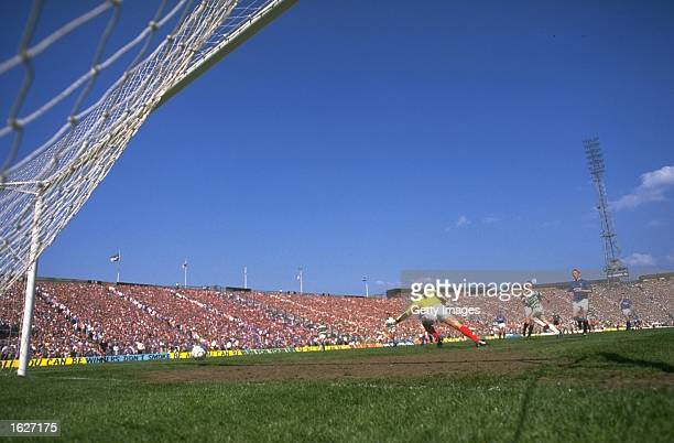 General view of the players in action in the goal area during the Scottish Cup Final match between Celtic and Rangers in Hampden Park in Glasgow...
