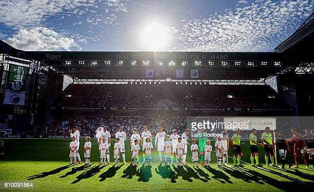 General view of the players of FC Copenhagen ready for the match prior to the Danish Alka Superliga match between FC Copenhagen and AGF Aarhus at...