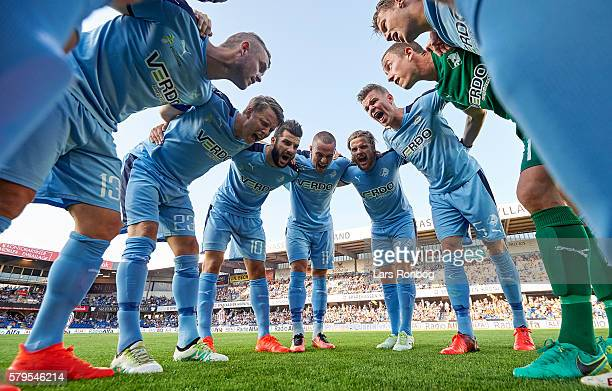 General view of the players of Randers FC huddle prior to the Danish Alka Superliga match between Randers FC and AaB Aalborg at BioNutria Park on...