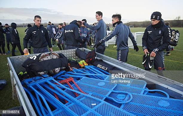 General view of the players putting their gear on to a trailer after the Brondby IF training session at Brondby Stadion on January 12 2017 in Brondby...