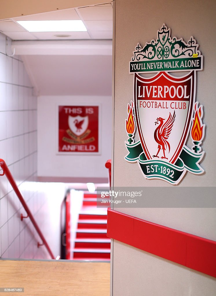A general view of the players tunnel ahead of the UEFA Europa League Semi Final second leg match between Liverpool and Villarreal CF at Anfield on May 05, 2016 in Liverpool, England.