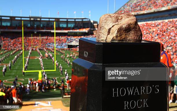 A general view of the playing field and Howard's Rock at Memorial Stadium seen prior to the start of the Clemson Tigers and North Carolina Tar Heels...