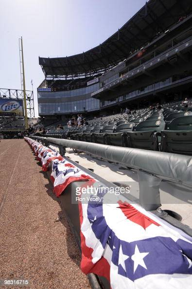 A general view of the playing field decked out in red white and blue bunting prior to the Opening Day game between the Chicago White Sox and...