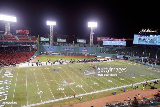 A general view of the playing surface during a game between the UCONN Huskies and the Boston College Eagles on November 18 at Fenway Park in Boston...
