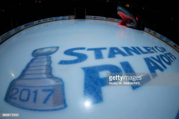 A general view of the playoff logo prior to the game between the Edmonton Oilers and San Jose Sharks in Game Three of the Western Conference First...