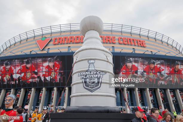 A general view of the plaza in front of Canadian Tire Centre with an inflatable Stanley Cup before the Ottawa Senators play against the Boston Bruins...