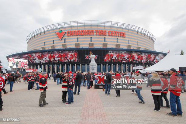 A general view of the plaza in front of Canadian Tire Centre with fans before the Ottawa Senators play against the Boston Bruins in Game Five of the...