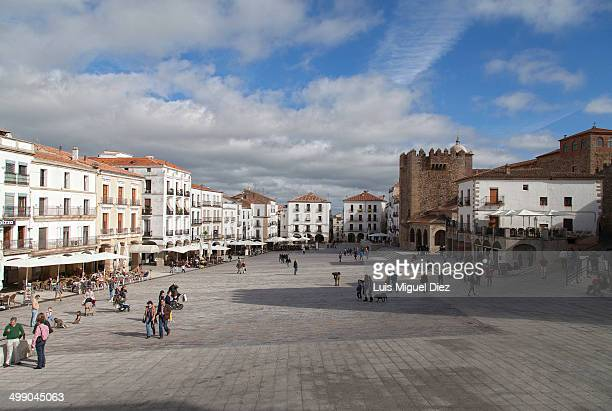 CONTENT] General view of the Plaza mayor in Cáceres Extremadura Spain 2013