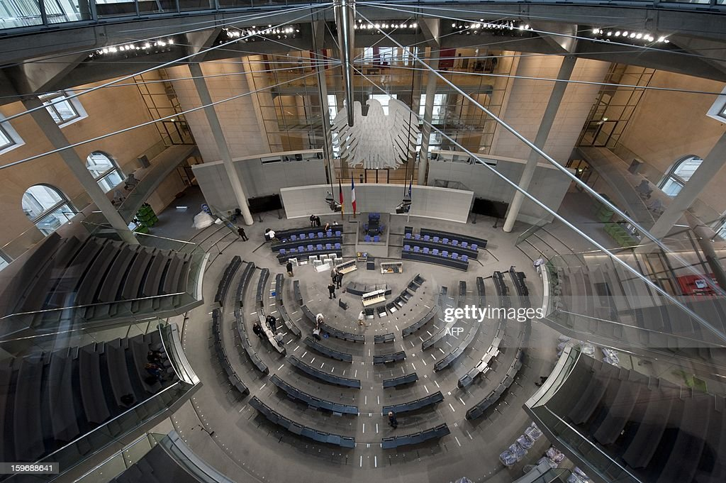 General view of the plenary hall of the Bundestag (lower house of parliament) on January 18, 2013 in Berlin. Germany and France will be celebrating the 50th anniversary of the Elysee Treaty, among others with a common session of German and French delegates at the German Bundestag. AFP PHOTO / BARBARA SAX