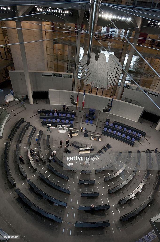 General view of the plenary hall of the Bundestag (lower house of parliament) on January 18, 2013 in Berlin. Germany and France will be celebrating the 50th anniversary of the Elysee Treaty, among others with a common session of German and French delegates at the German Bundestag.