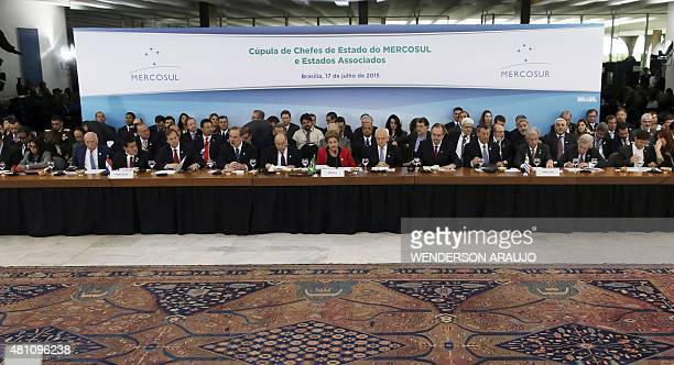 General view of the plenary session of the MERCOSUR Summit of Heads of State and Associated States at Itamaraty Palace in Brasilia Brazil on July 17...