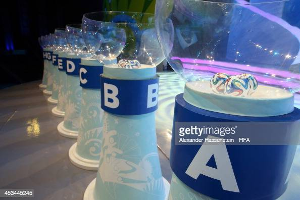 A general view of the plinths and pots containing the draw balls during a rehearsal for the Final Draw of the FIFA World Cup 2014 at Costa do Sauipe...
