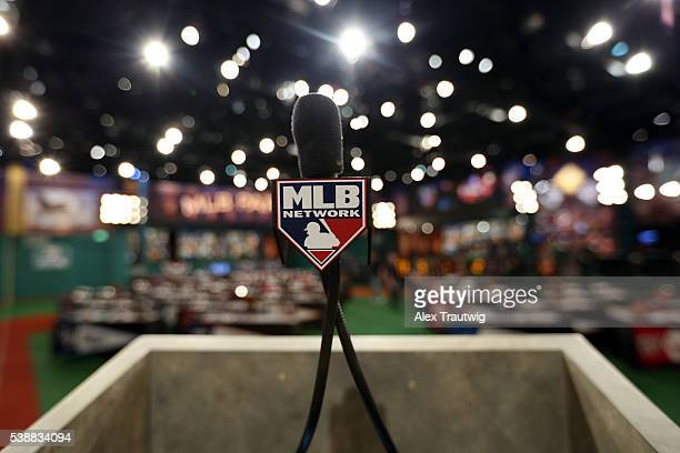 A general view of the podium ahead of the 2016 Major League Baseball FirstYear Player Draft at MLB Network's Studio 42 on Wednesday June 8 2016 in...