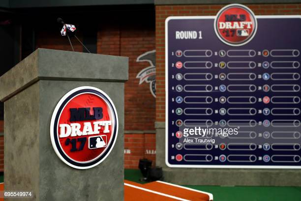 A general view of the podium and draft board prior to the 2017 Major League Baseball Draft at Studio 42 at the MLB Network on Monday June 12 2017 in...