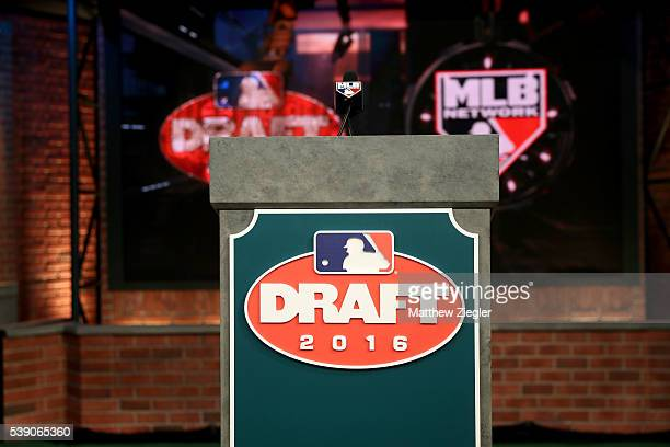 A general view of the podium with the 2016 Draft logo prior to the 2016 Major League Baseball FirstYear Player Draft at the MLB Network on Thursday...