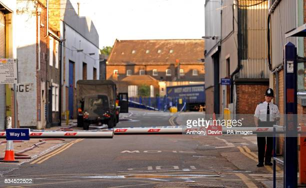 General view of the Police cordon on Sugar House Lane in Bromley by Bow London where an unexploded Word War II bomb will be detonated in a controlled...