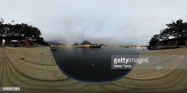 A general view of the polluted Rodrigo de Freitas Lagoon venue for the rowing events at the Rio 2016 Olympic Games on July 1 2016 in Rio de Janeiro...