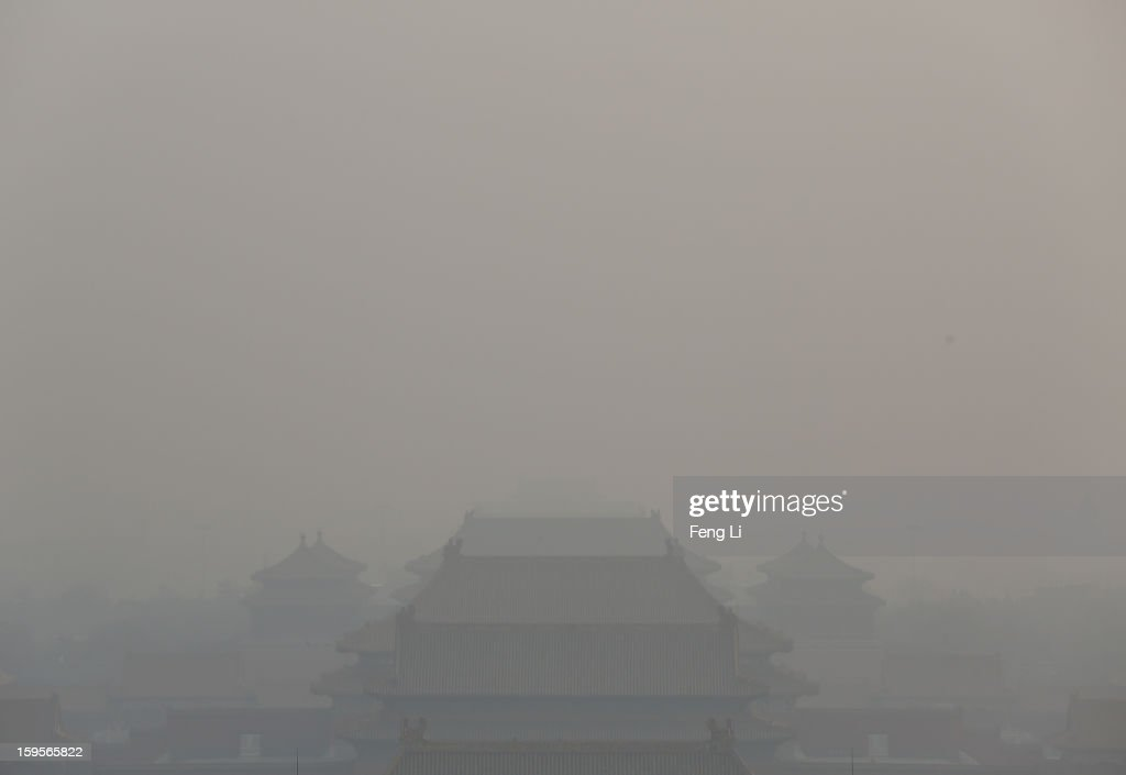 A general view of the pollution covered Forbidden City on January 16, 2013 in Beijing, China. Heavy smog shrouded Beijing with pollution at hazardous levels from January 12.