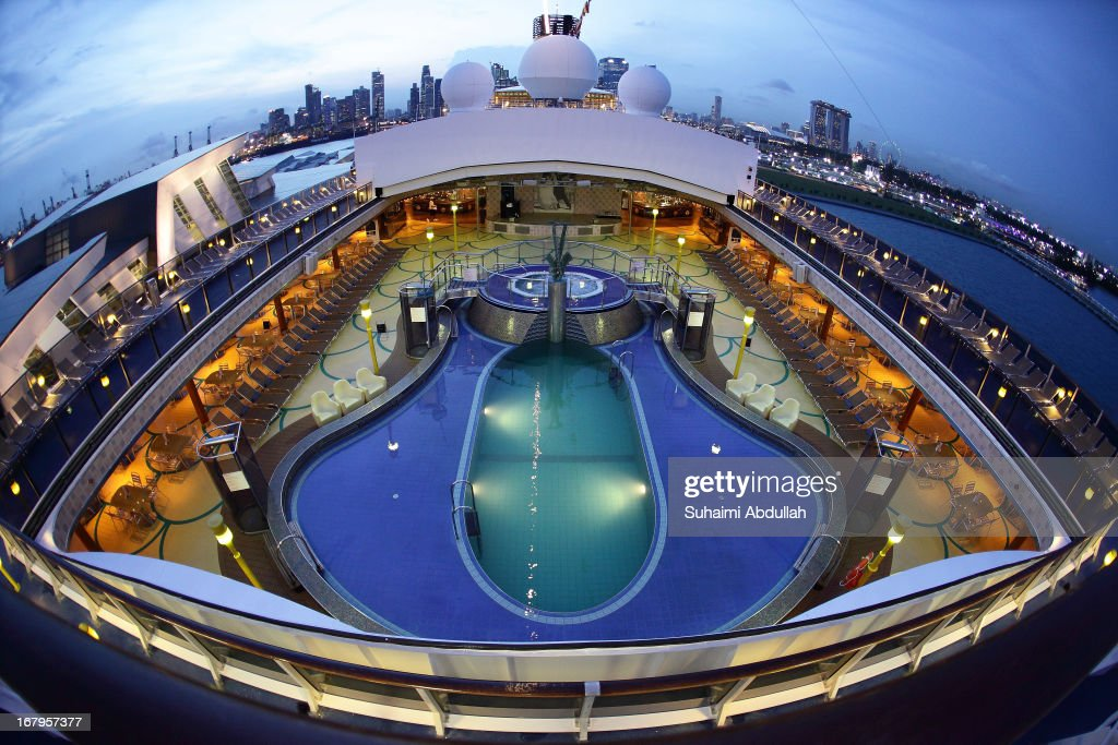 A general view of the pool deck of the Costa Atlantica at the Marina Bay Cruise Centre Singapore on May 3, 2013 in Singapore. Costa Atlantica made its maiden call to Singapore today and is the biggest ship in the Costa Cruises fleet to be deployed in the region. Costa is one of Carnival plc's 10 cruise brands.
