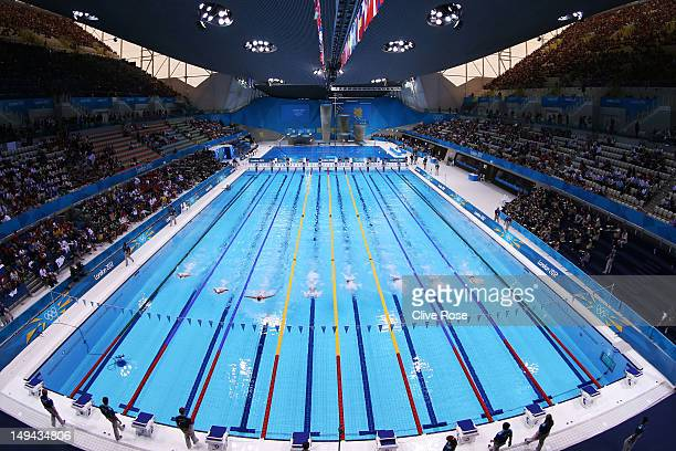 A general view of the pool during the preliminary heats on Day One of the London 2012 Olympic Games at the Aquatics Centre on July 28 2012 in London...