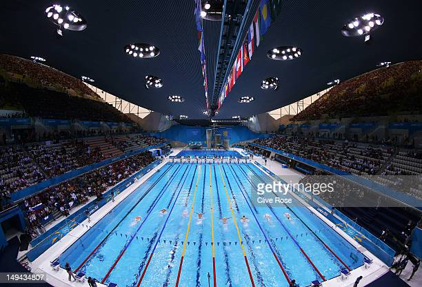 a general view of the pool during the preliminary heats on day one of the london