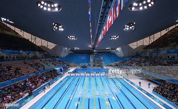 a general view of the pool during the preliminary heats on day one of the london rm london 2012 olympic