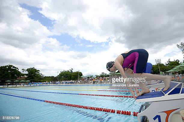 General view of the pool in the Swimming 200m Freestyle during the Women's Modern Pentathlon Tournament Aquece Rio Test Event for the Rio 2016...