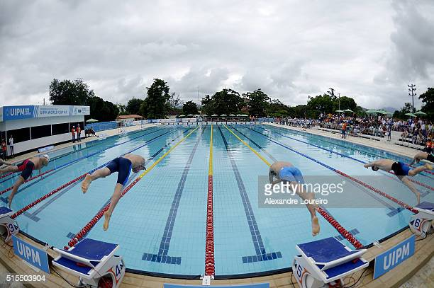 General view of the pool in the Swimming 200m Freestyle during the Men's Modern Pentathlon Tournament Aquece Rio Test Event for the Rio 2016 Olympics...
