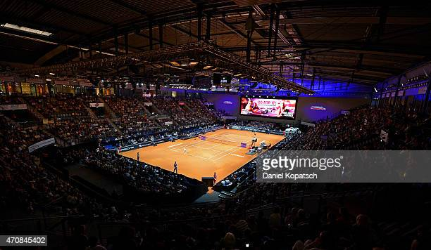General view of the PorscheArena on day four of the Porsche Tennis Grand Prix at PorscheArena on April 23 2015 in Stuttgart Germany