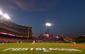 A general view of the Postseason signage painted on the grass as the sunsets during the game between the Kansas City Royals and Los Angeles Angels of...