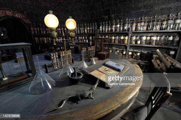 A general view of the potions classroom on the set of Harry Potter at the Warner Bros Studio Tour London The Making of Harry Potter at Leavesden...
