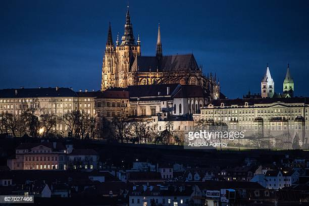 A general view of the Prague Castle in Prague Czech Republic on December 1 2016 Christmas markets traditionally selling roasted chestnuts hot mead...
