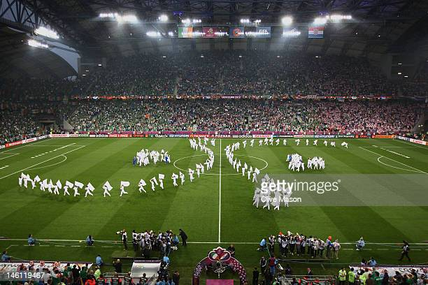 A general view of the pre match entertainment during the UEFA EURO 2012 group C between Ireland and Croatia at The Municipal Stadium on June 10 2012...