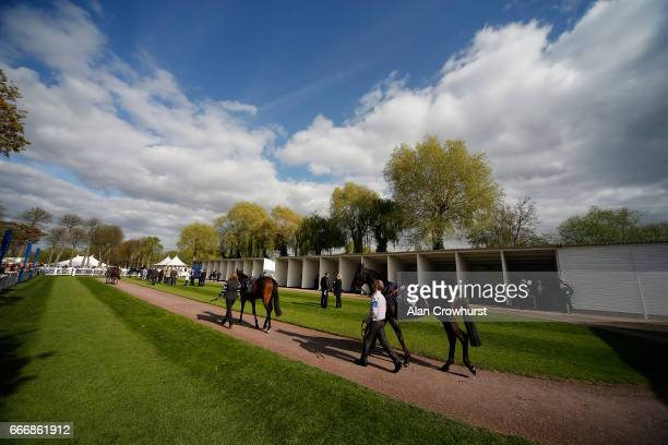 A general view of the pre parade ring at Windsor Racecourse on April 10 2017 in Windsor England