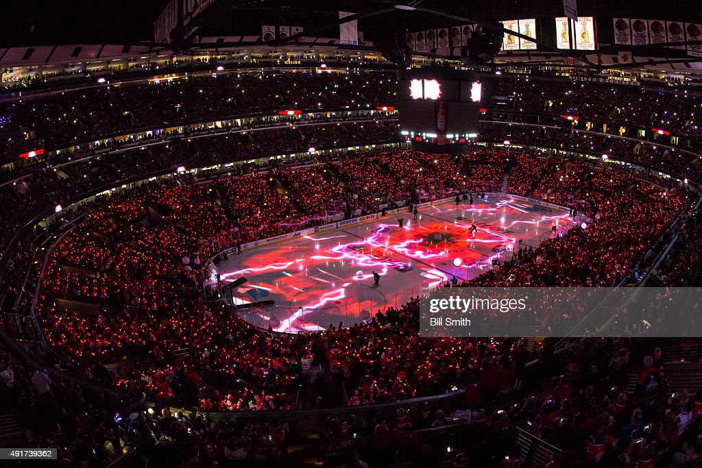 A general view of the pregame ceremonies of the the season opener between the Chicago Blackhawks and the New York Rangers during an NHL game at the...