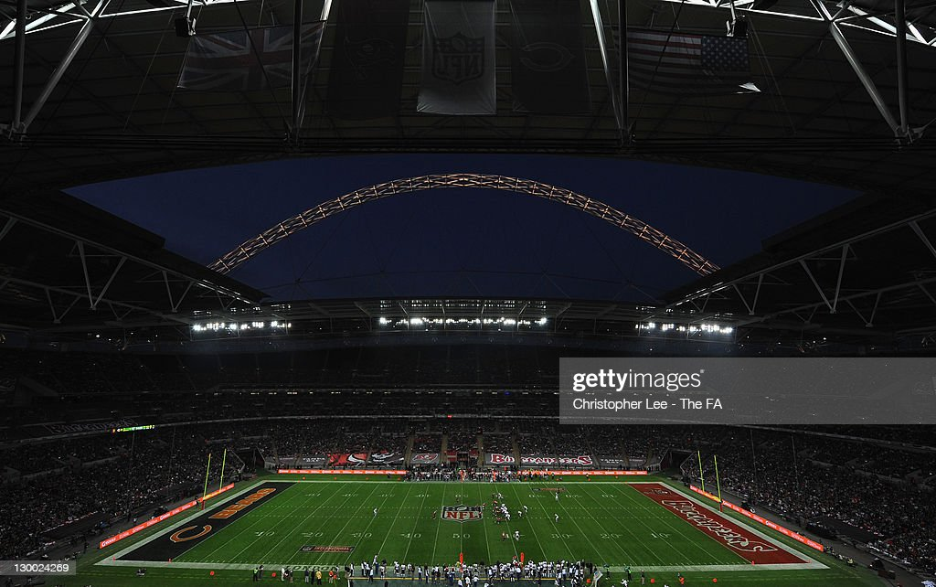 A general view of the pregame entertainment prior to the NFL International Series match between Chicago Bears and Tampa Bay Buccaneers at Wembley Stadium on October 23, 2011 in London, England. This is the fifth occasion where a regular season NFL match has been played in London.